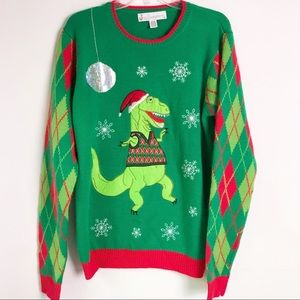 Jolly Sweater Men's Ugly Christmas Sweater T-Rex M